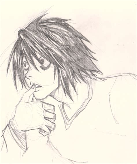 How to draw L Death Note - drawing and digital painting ... L Death Note Drawing