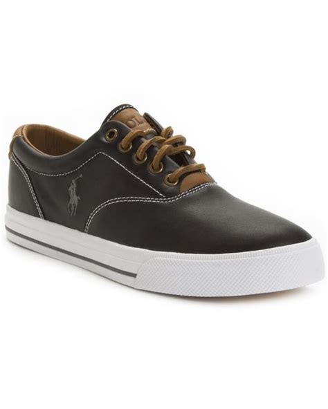 polo ralph mens sneakers polo ralph vaughn leather sneakers in black for