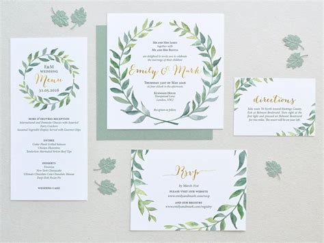 Leaf Themed Wedding Invitations by Watercolor Wedding Invitation Leaves Wreath Set Square