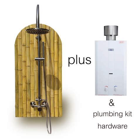 Temporary Shower Kit by Bamboo Theme Outdoor Shower Panel Kit W Portable Tank Less Water Heater Sunrinse
