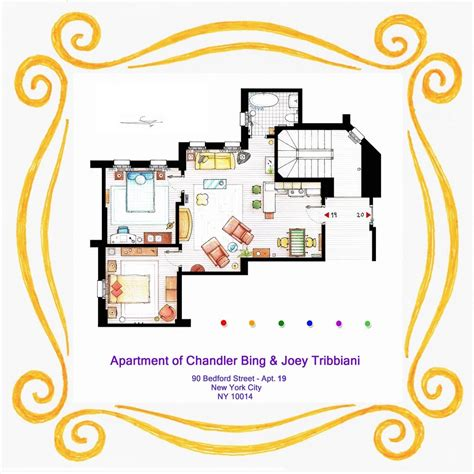 artists sketch floorplan of friends apartments and other famous tv shows daily mail online from friends to frasier 13 famous tv shows rendered in