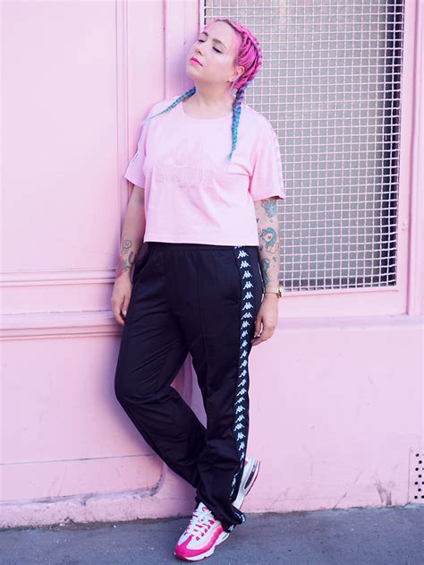 fashion total kappa   black  pink lazy kat
