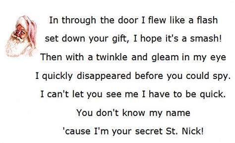 secret rhymes secret santa poems clever sayings