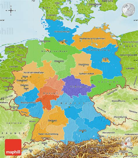 germany physical map political map of germany physical outside