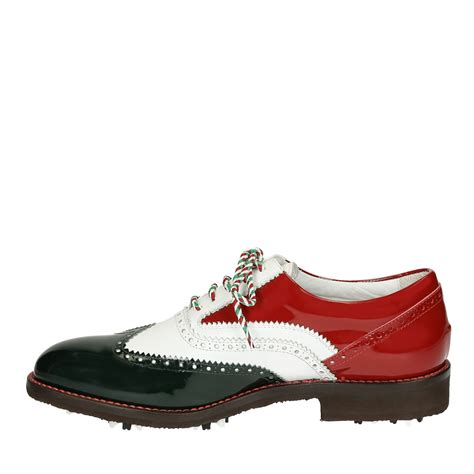 handmade golf shoes in italy flag colors white green
