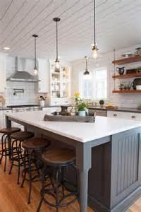 farmhousekitchen kitchen coastal lake shelves homemade island pinterest home design ideas