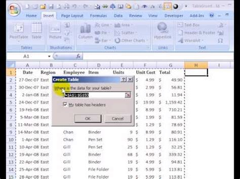 format table excel 2007 format a table in excel 2007 youtube