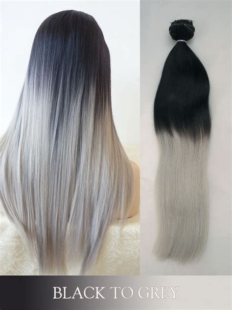 colored human hair extensions black to grey colored clip in human hair extensions
