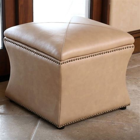 camel leather ottoman abbyson living monica pedersen square leather storage