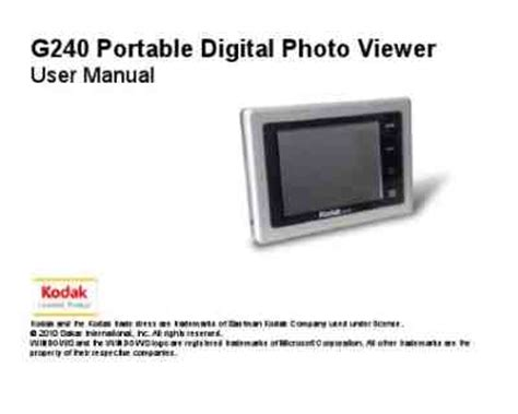 Kodak G240 Photo Frame Download Manual For Free Now