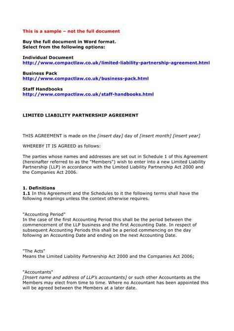 limited liability partnership agreement template 4 limited partnership agreement forms word pdf