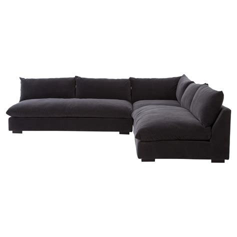 winda modern classic charcoal grey armless sectional