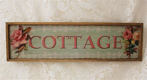 Decoupage Signs - cottage decoupage wooden sign on green