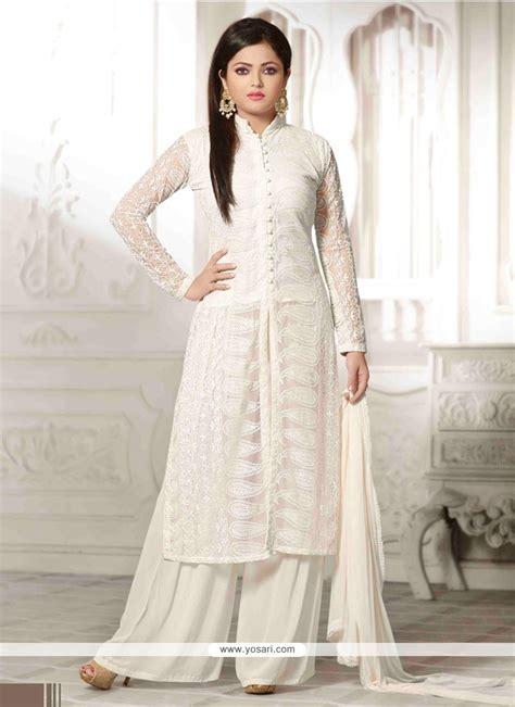 net pattern salwar suit shop online glossy resham work white net designer palazzo