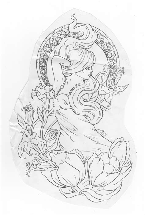 art deco tattoo design nouveau alexandra doffing