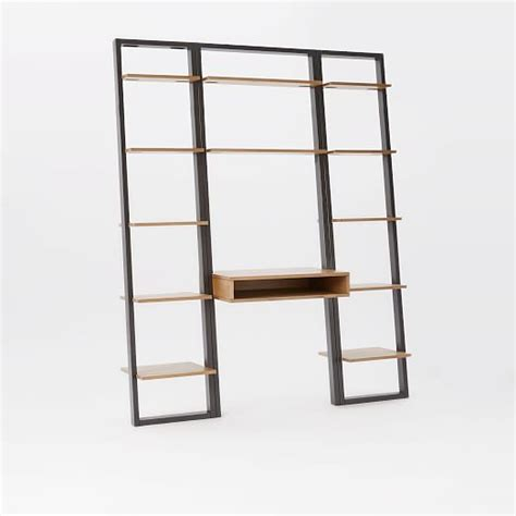 Narrow Computer Desk With Shelves Ladder Shelf Desk Narrow Bookshelf Set West Elm
