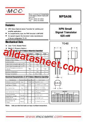 mpsa06 datasheet pdf micro commercial components