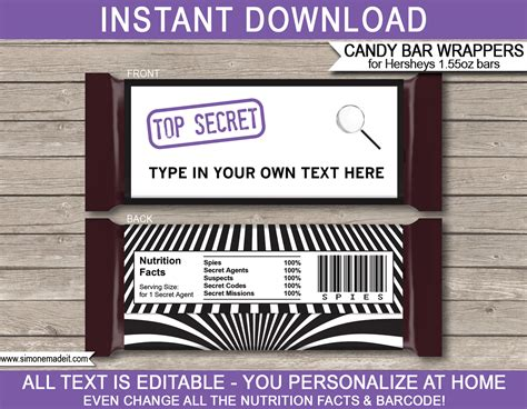 Secret Agent Or Spy Hershey Candy Bar Wrappers Birthday Party Favors Wrapper Labels Templates