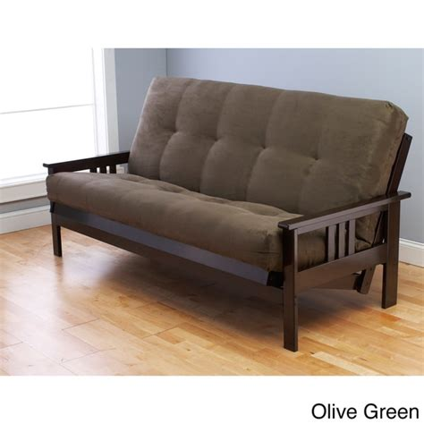 futon sizes somette monterey hardwood suede queen size futon sofa bed 16397844 overstock com shopping