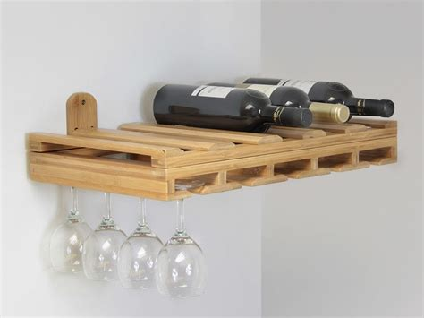 Glass Holder Shelf by Hanging Glass Rack Bamboo Kitchen Accessories