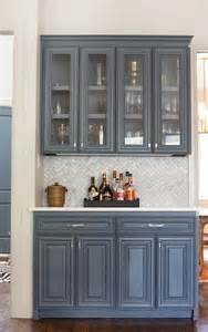 grey blue kitchen cabinets butler pantry with marble chevron backsplash