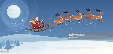 santa and sleigh santas sleigh and reindeer vector getty images
