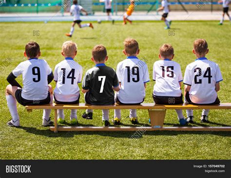 team bench soccer football players on match game image photo bigstock