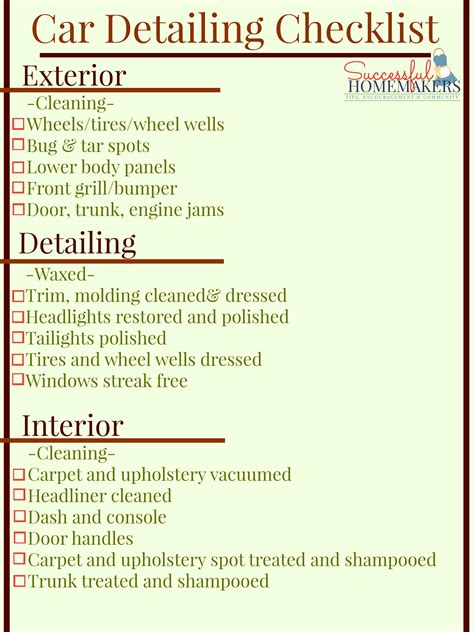 car wash checklist template best photos of car cleaning checklist car detailing