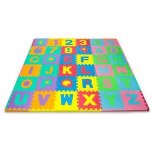 matney foam mat of alphabet and number puzzle pieces with