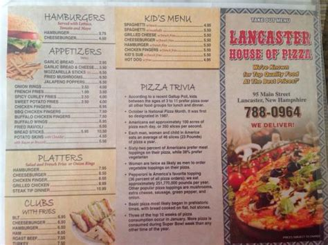 house of pizza menu menu picture of lancaster house of pizza lancaster tripadvisor