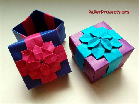 How To Make A Origami Present - origami flower gift box comot