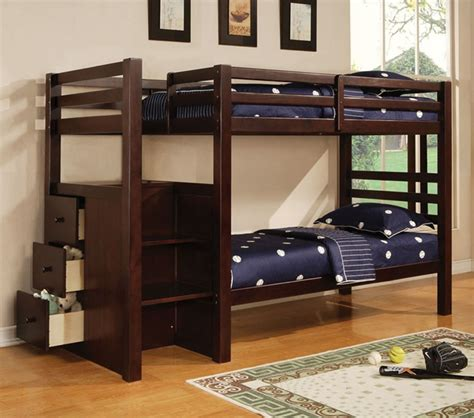 Espresso Bunk Beds With Stairs Dreamfurniture Espresso Wood Bunk Bed With Stairs