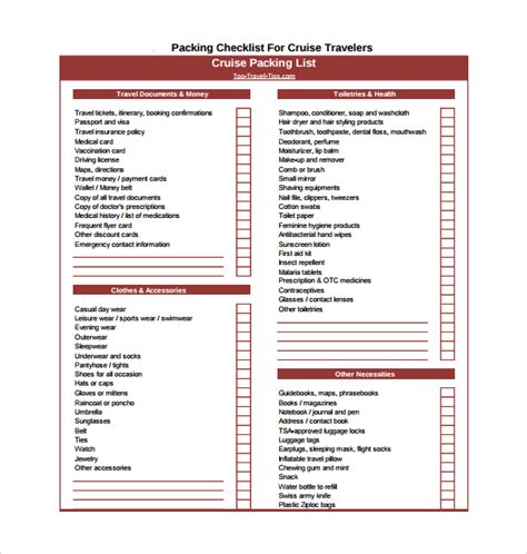 packing checklist template 15 download free documents