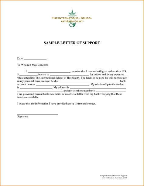 Financial Support Letter Template letter of support sle template learnhowtoloseweight net