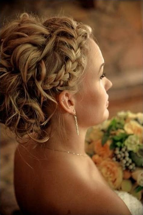 Wedding Updos Braids by Beautiful Updo Hairstyles With Braids And Side Bangs For