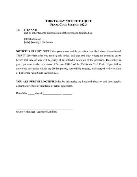 30 day notice to landlord letter template best photos of sle 30 day notice form 30 day notice