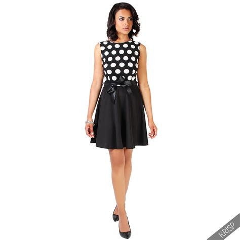 polka dot swing dress 1950s womens ladies retro pin up polka dot skater dress flared