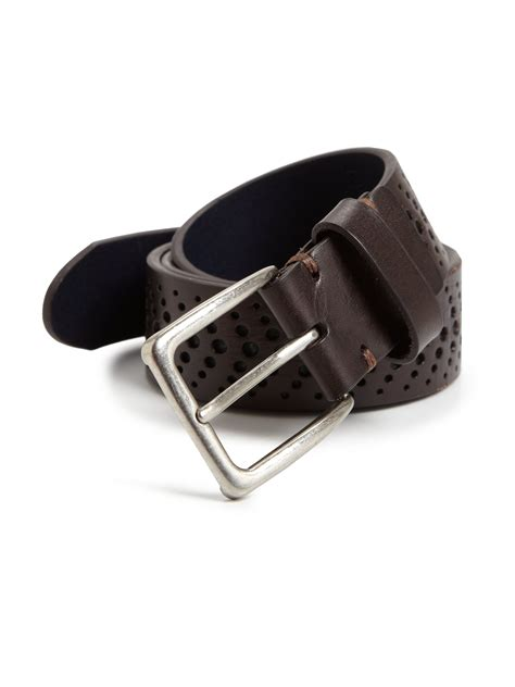 leather island by bill lavin perforated leather belt in