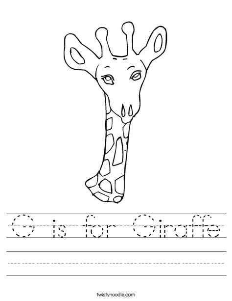 G is for Giraffe Worksheet   Twisty Noodle