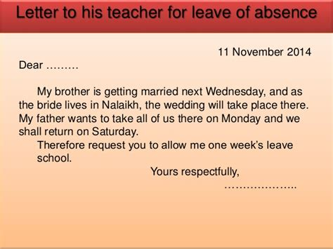 Sle Absence Letter To Principal 11 Th Nov Cv Business Class