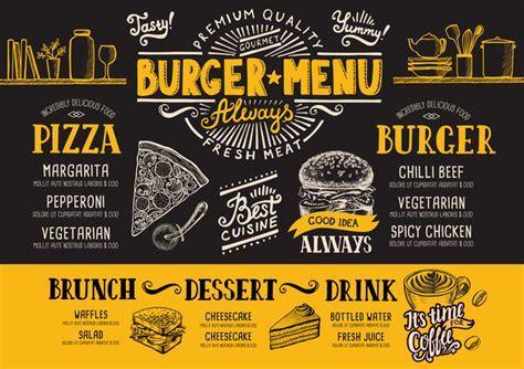 menu design eps file vintage burger menu template vector material 13 vector
