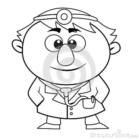 cute doctor coloring page outlined cute doctor stock photo image 29097990