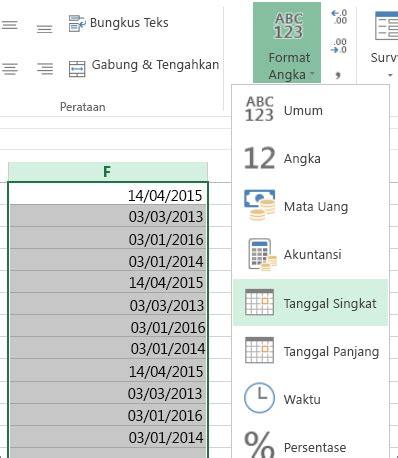 format artikel pendek mengubah tanggal yang diformat sebagai teks menjadi