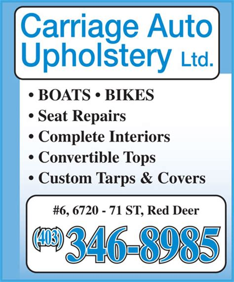 Sms Auto Upholstery by Carriage Auto Upholstery Ltd 6 6720 71 St Deer Ab