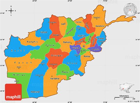 political colors political simple map of afghanistan single color outside