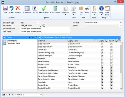 excel template builder excel report builder setups smartlist builder template