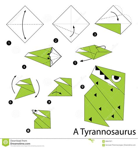 How To Make A Origami Dinosaur Step By Step - dinosaur paper origami comot