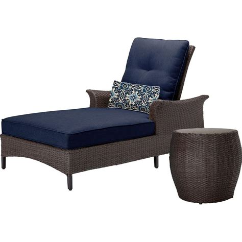 navy chaise hanover gramercy 2 piece all weather wicker patio chaise
