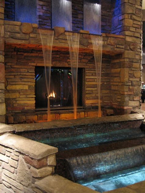 water wall fireplace home exteriors