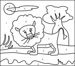 lion color by number coloring pages online coloring games
